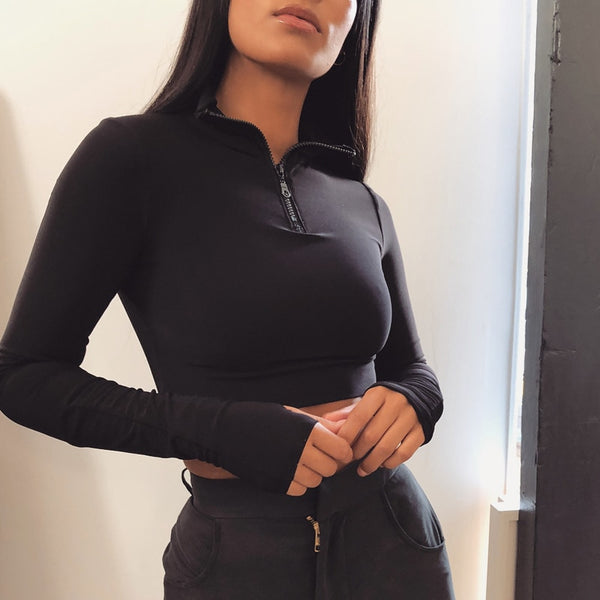 Long Sleeve Crop Top and Cycling Shorts Set - aesthetic