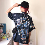 Load image into Gallery viewer, Oversized Dragon Print Short Sleeve Shirt - aesthetic