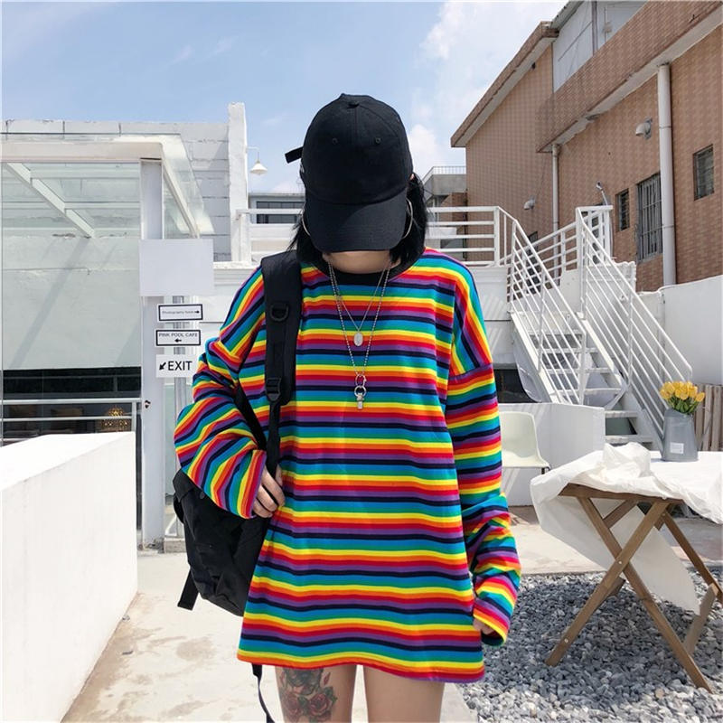 Rainbow Stripe Top - aesthetic