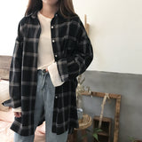 Oversized Long-Sleeve Plaid Shirt - aesthetic