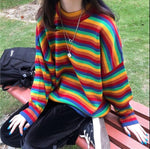 Load image into Gallery viewer, Rainbow Striped Sweater - aesthetic