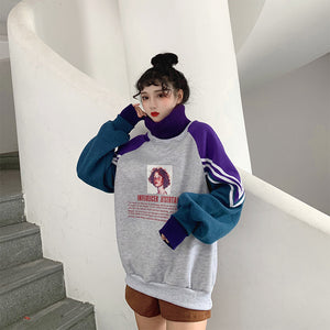 Oversized Turtleneck Patchwork Hoodie - aesthetic