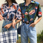 Load image into Gallery viewer, Floral Button-Down T-Shirt - aesthetic