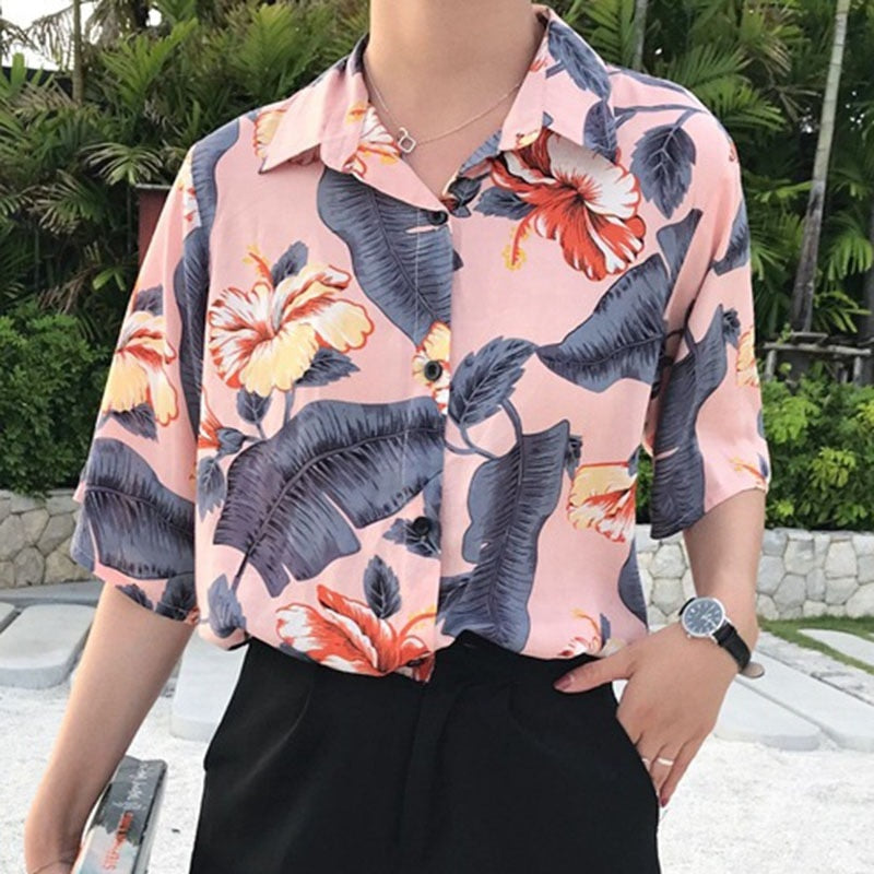 Floral Button-Down T-Shirt - aesthetic
