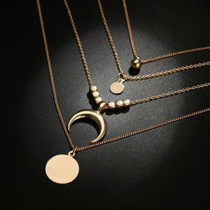 Stacked Moon Pendant Necklace - aesthetic