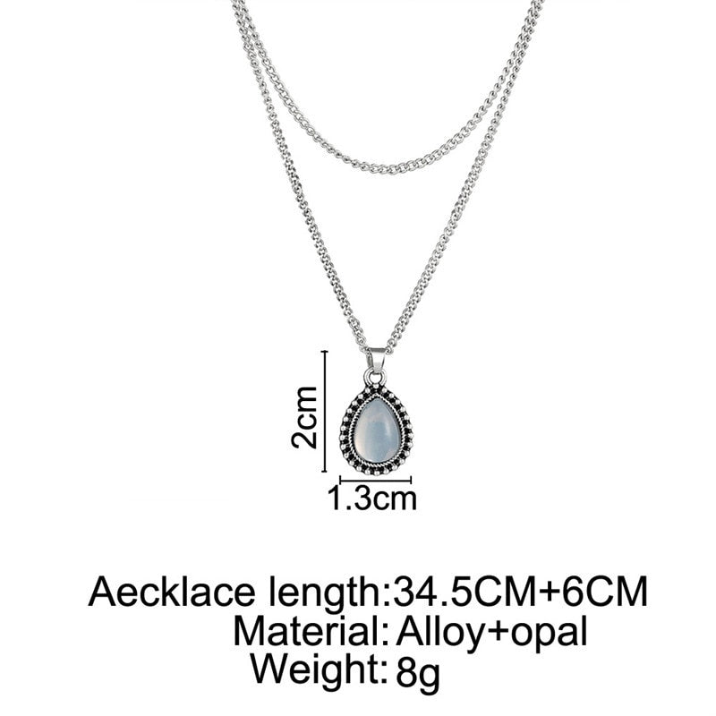 Gem Droplet Necklace - aesthetic