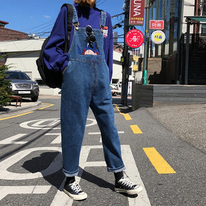 Cartoon Embroidery Denim Overalls - aesthetic