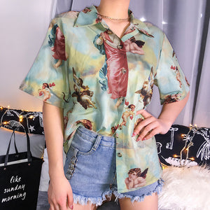 Angel Print Button-Down T-Shirt - aesthetic