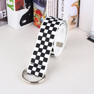 Canvas Checkerboard Belt - aesthetic
