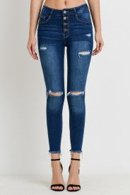 Highwaist Distressed Ankle Skinny Jean