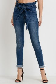 Paper bag Highwaist Double Cuff Ankle Skinny