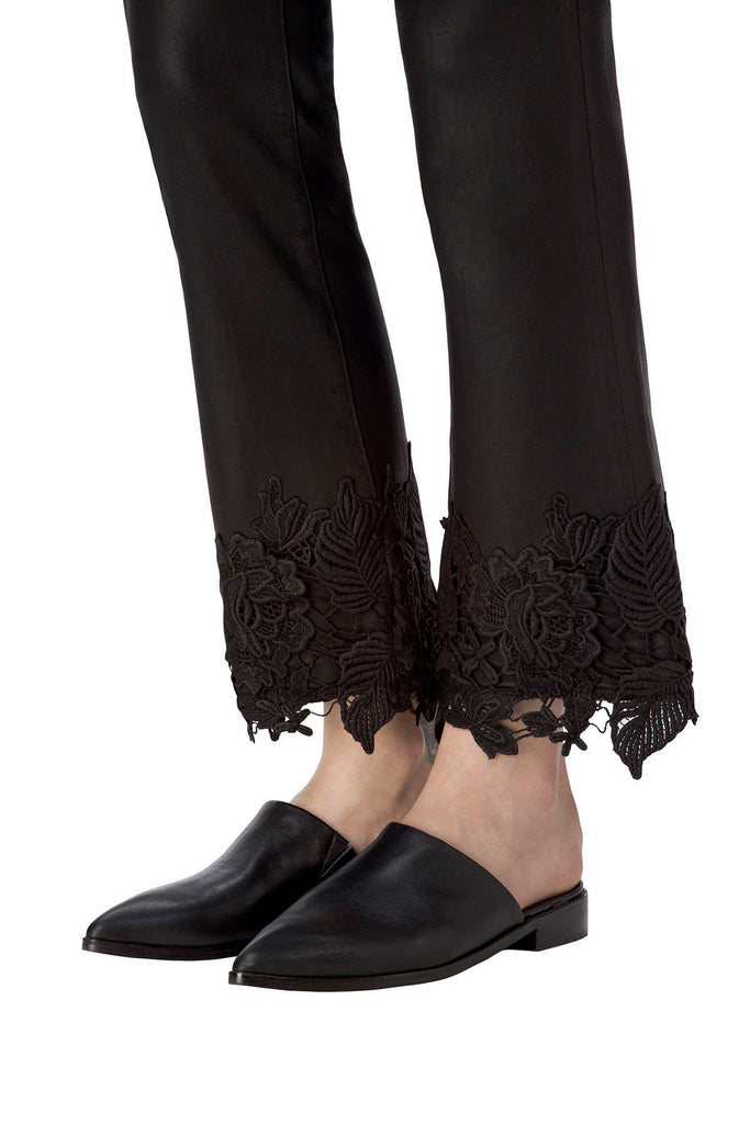 Selena Mid-Rise Crop Boot in Coated Black Lace