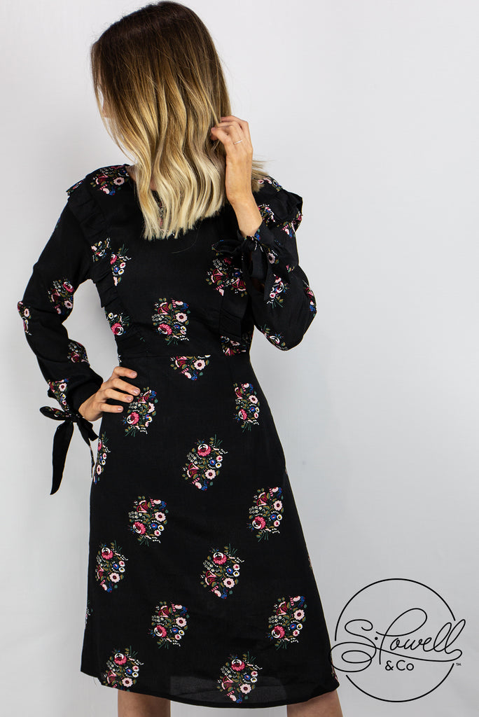 Long Sleeve Floral Ruffle Dress
