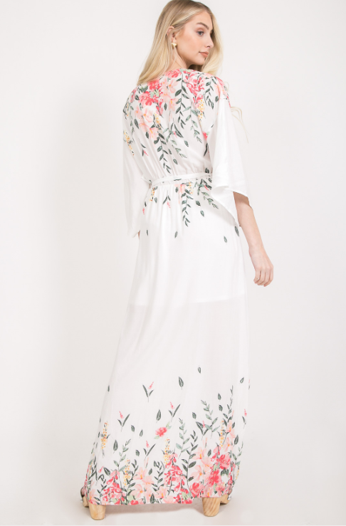 Border Floral Print Maxi Dress