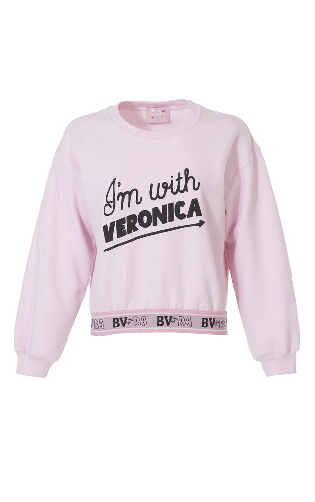 """I'm With Veronica"" Sweatshirt in Pink - DI"