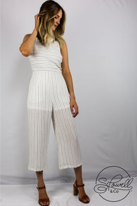 Cotton Striped Collared Jumpsuit
