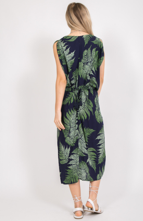 Leaf Print Midi Adjustable Dress