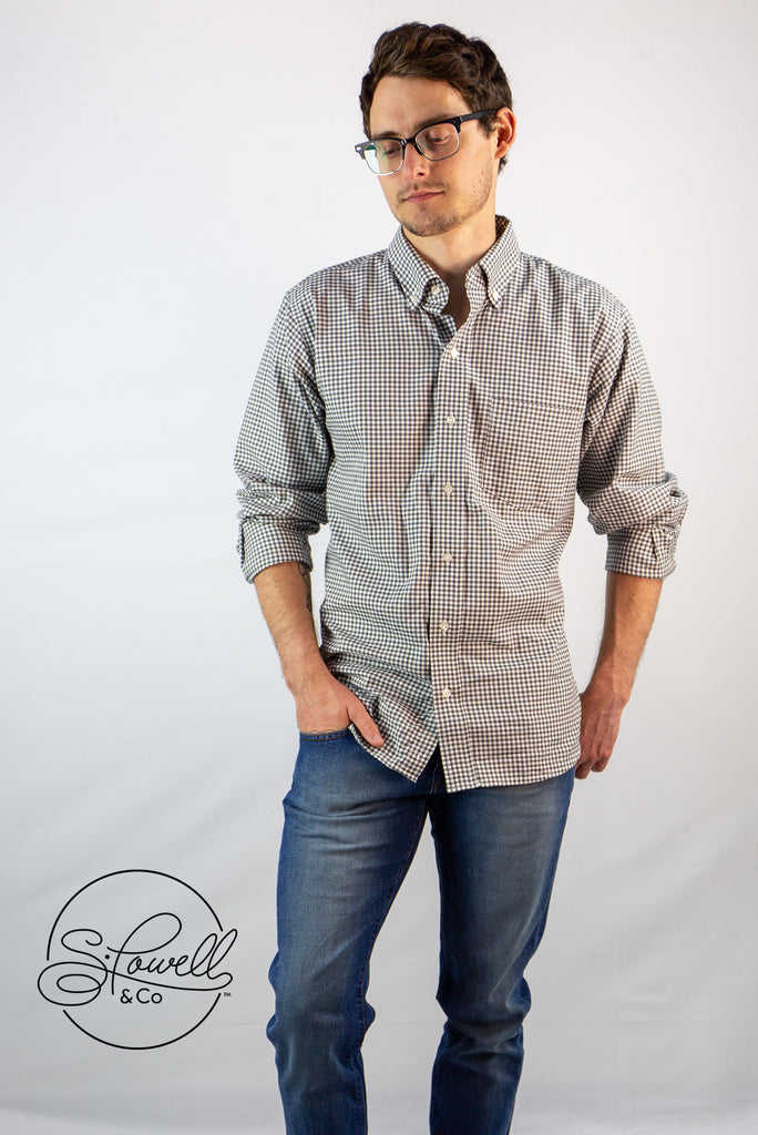 Men's Alverstone Gray Check Button-Down