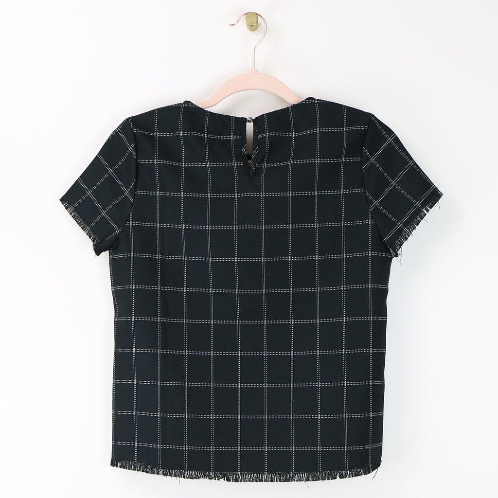 Black Plaid Top w/Frayed Hems - DI