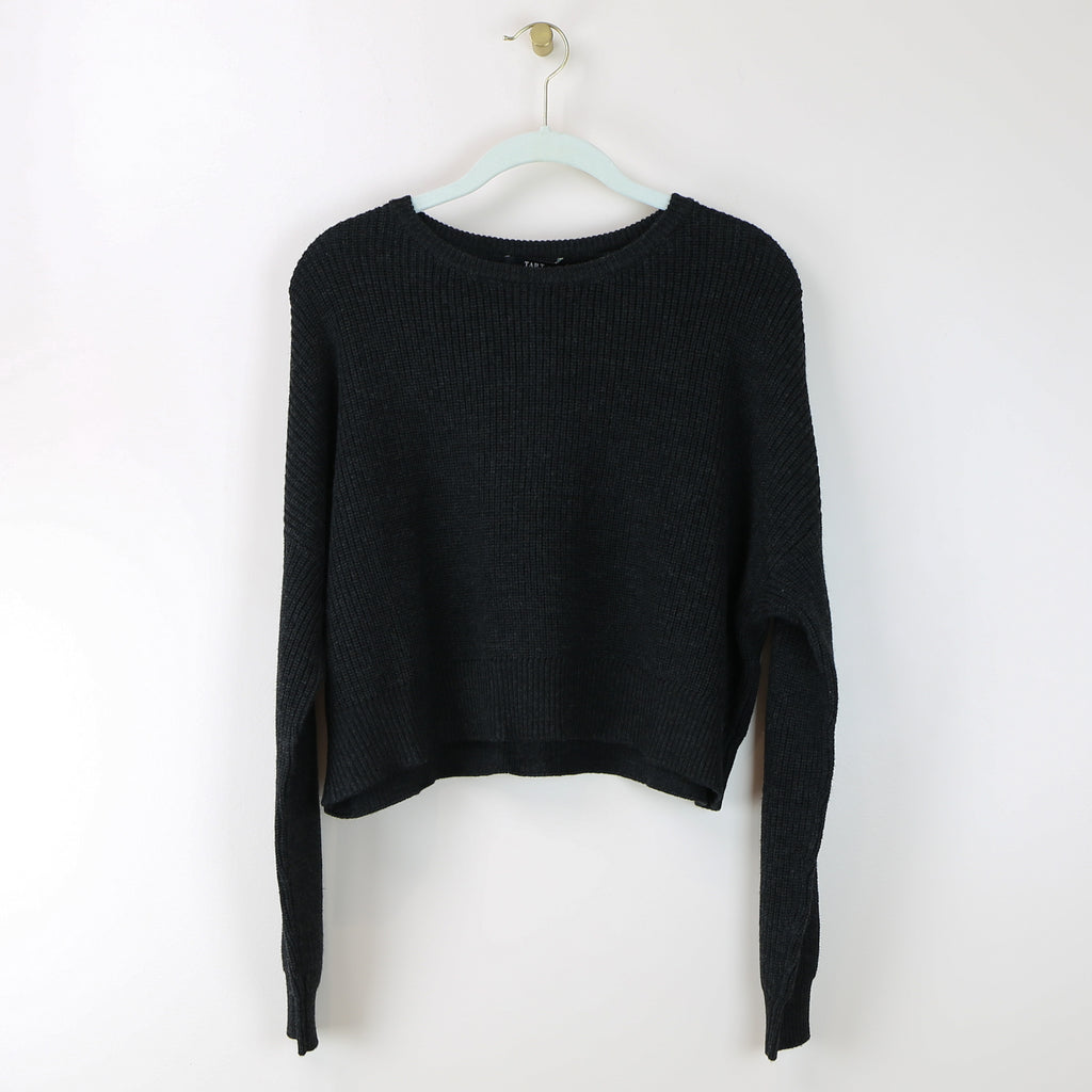 Blossom Cropped Sweater - Black