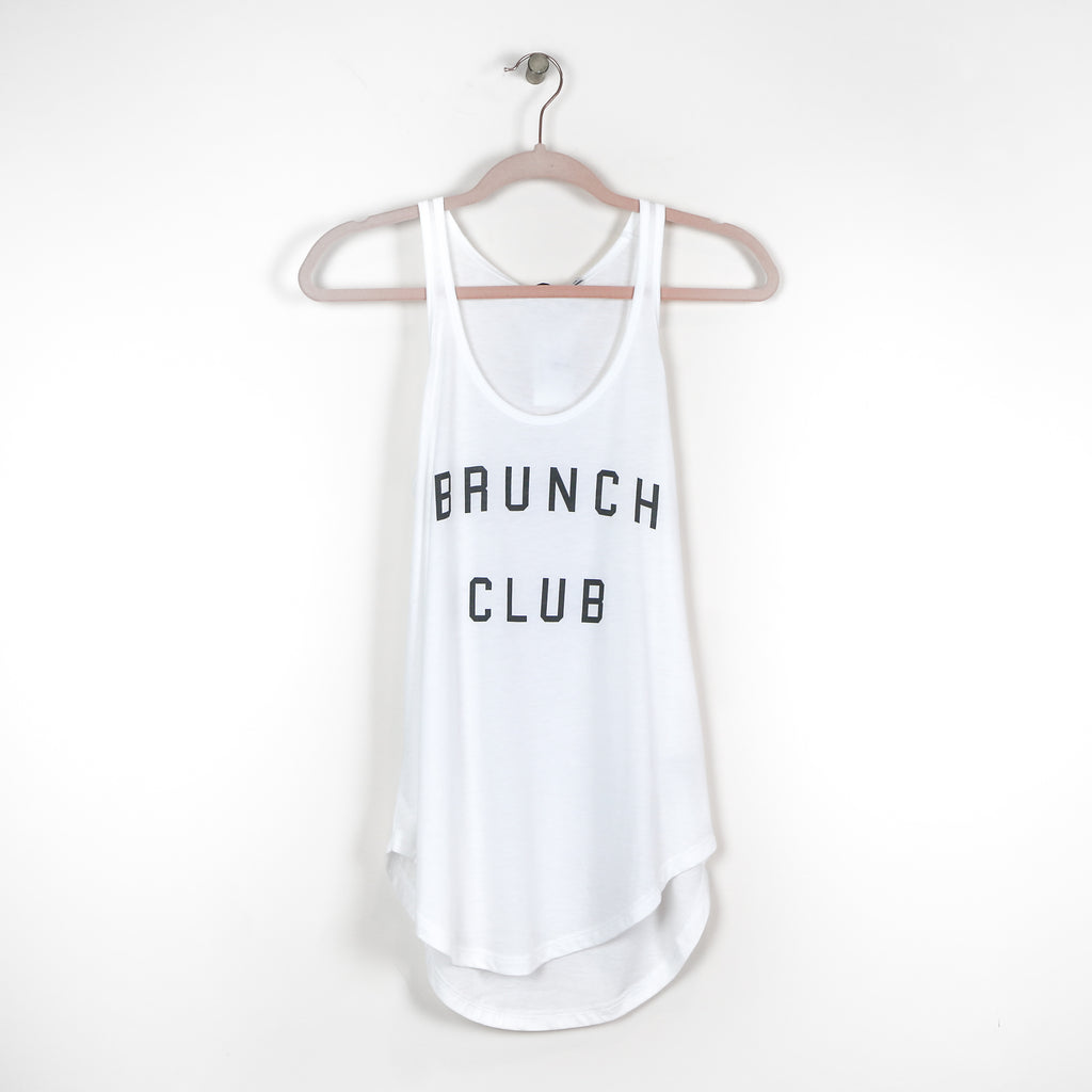 """Brunch Club"" White Tank Top - DI"
