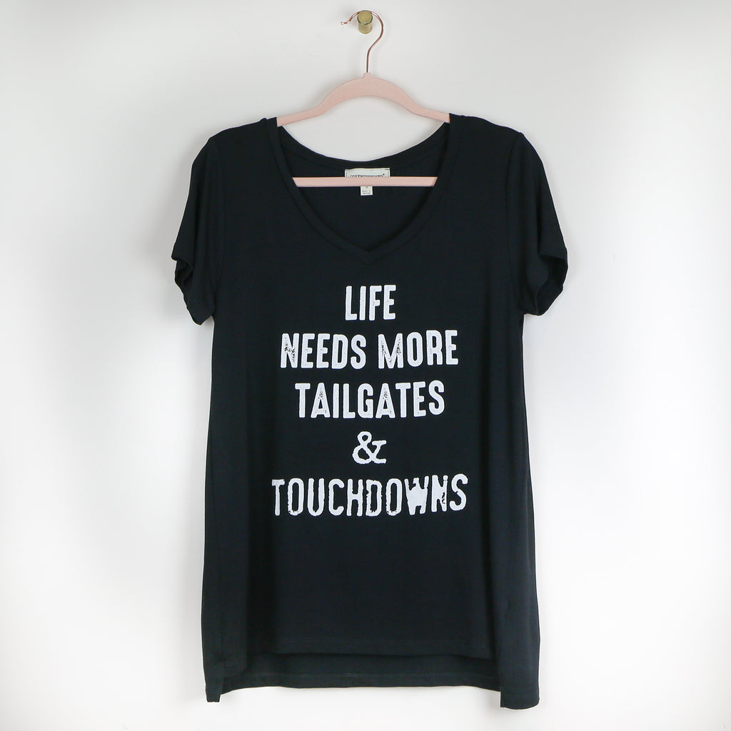 """Tailgates & Touchdowns"" V-Neck Tee - Black"