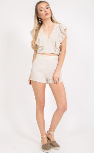 Oatmeal Color Crop Top With Lace Detail