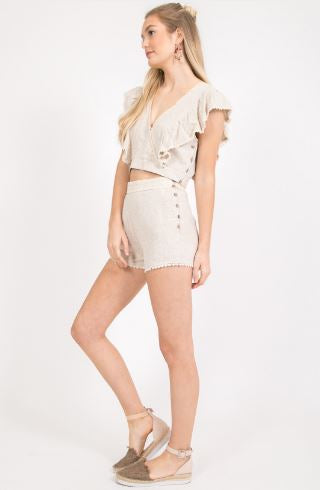 High Waist Linen Shorts in Oatmeal with Lace
