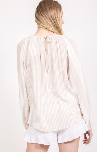 Long-Sleeve Front-Tie Striped Top