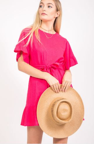 Linen Coral Dress with Front Ties and Ruffle Sleeves