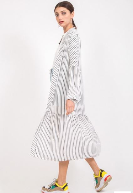 Black and White Striped Duster with Ruffles