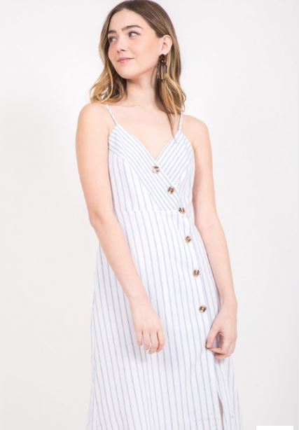 Spaghetti Strap Shift Dress with Asymmetrical Buttons