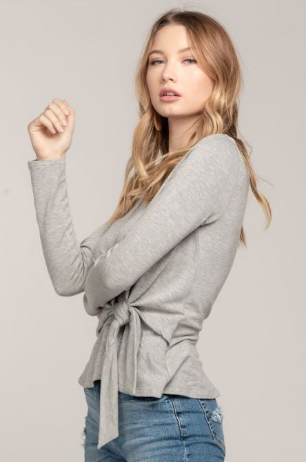 Long Sleeve Knit V-Neck Top with Ties