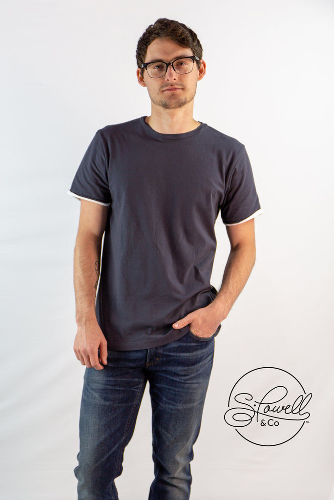 Men's Charcoal Double Face Basic Tee
