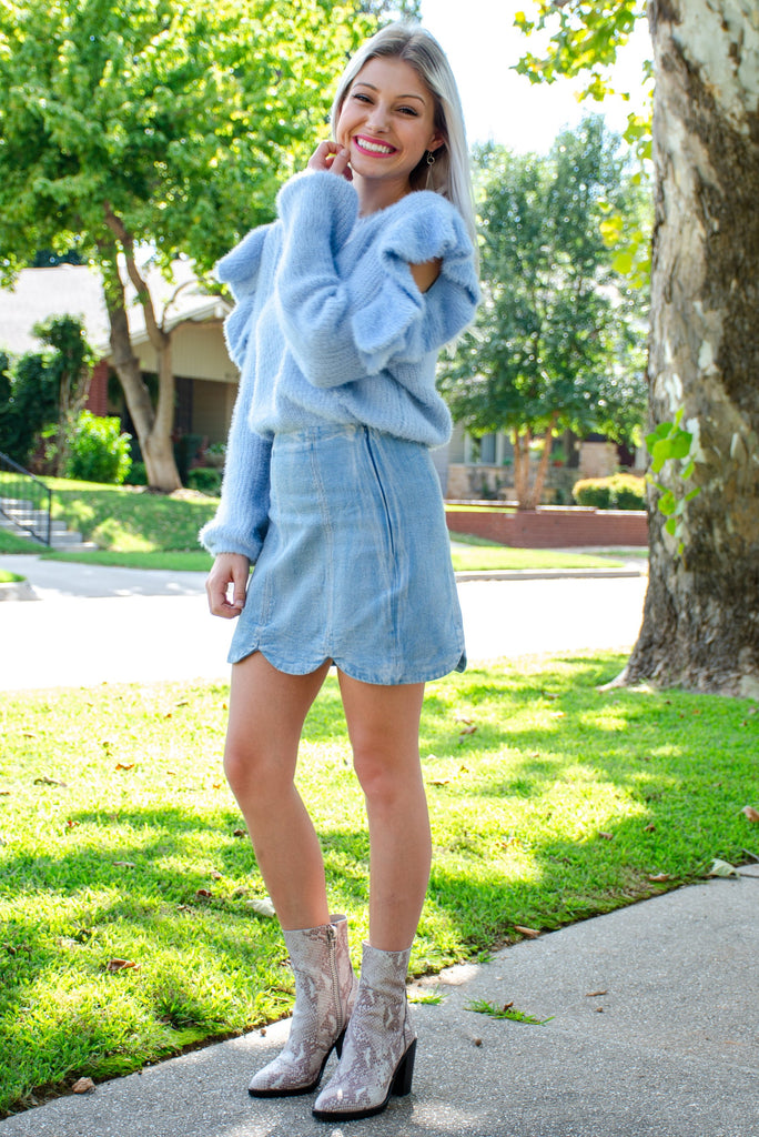 """As If"" Ruffle Sleeve Top - Powder Blue"