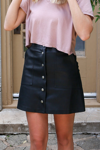 Black Leather Skirt with Snaps - DI