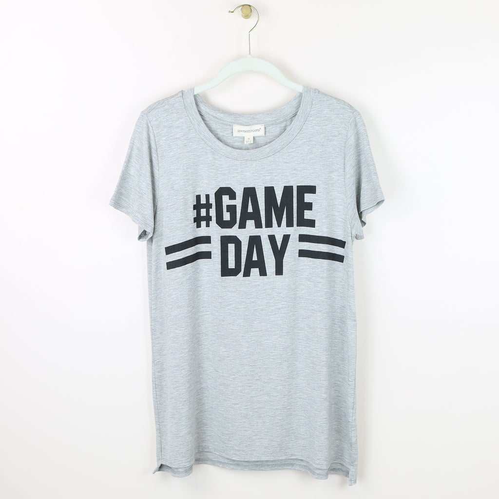 #Game Day Round Neck Tee - Heather Gray
