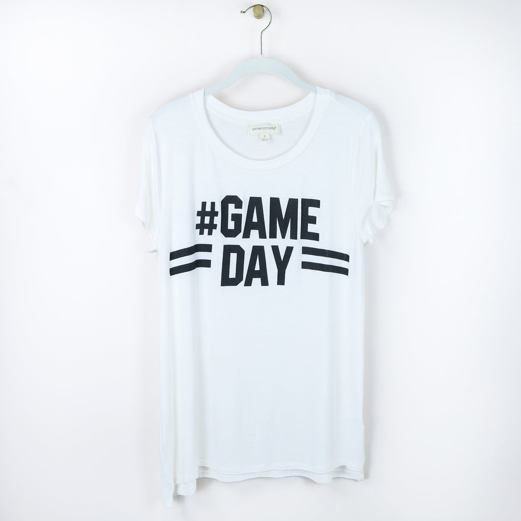 #Game Day Round Neck Tee - White