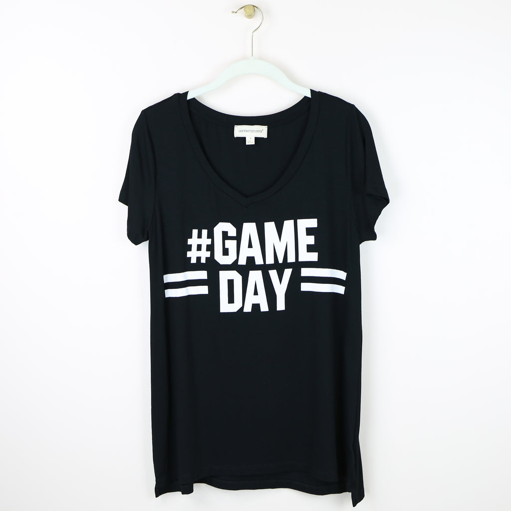 #Game Day V-Neck Tee - Black