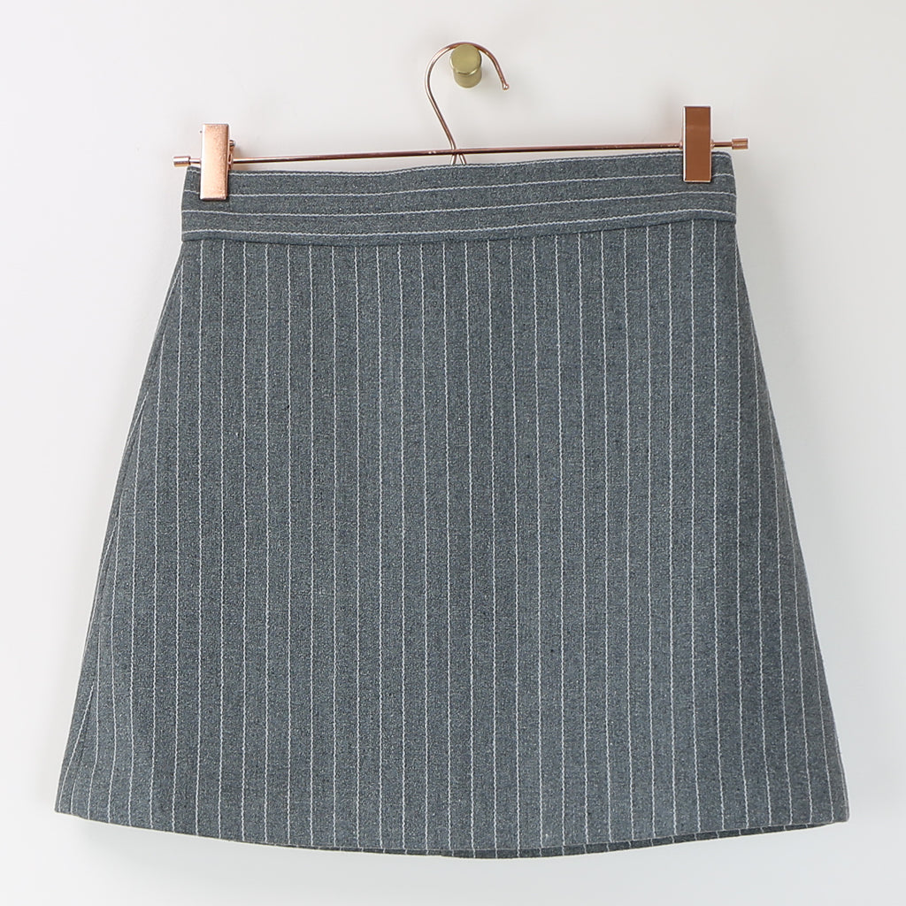Gray Pinstripe Mini Skirt - DI