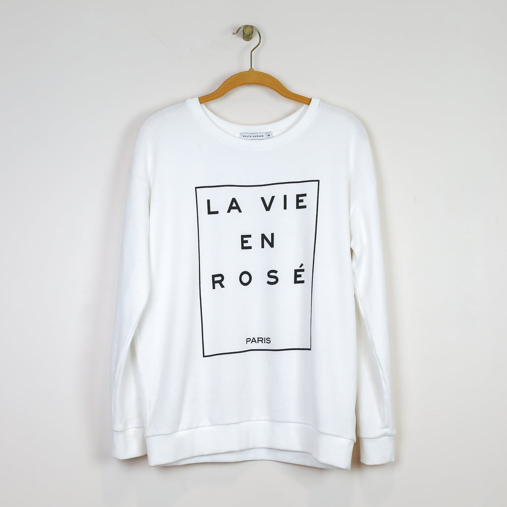 """La Vie En Rose"" Sweatshirt in White - DI"