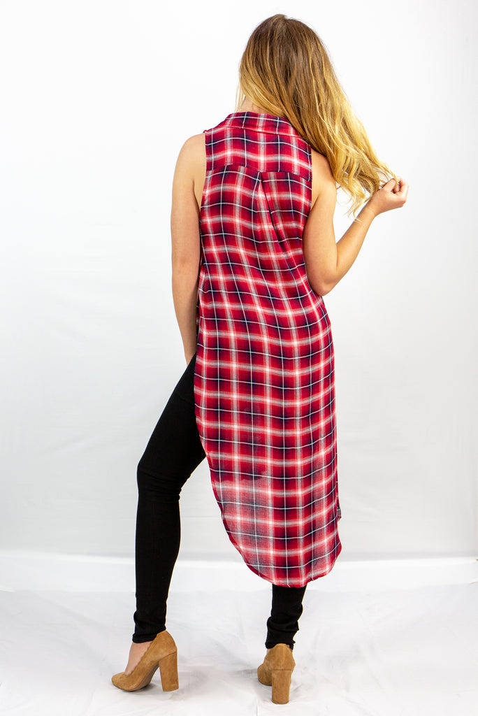 Long Plaid Button Up Tank