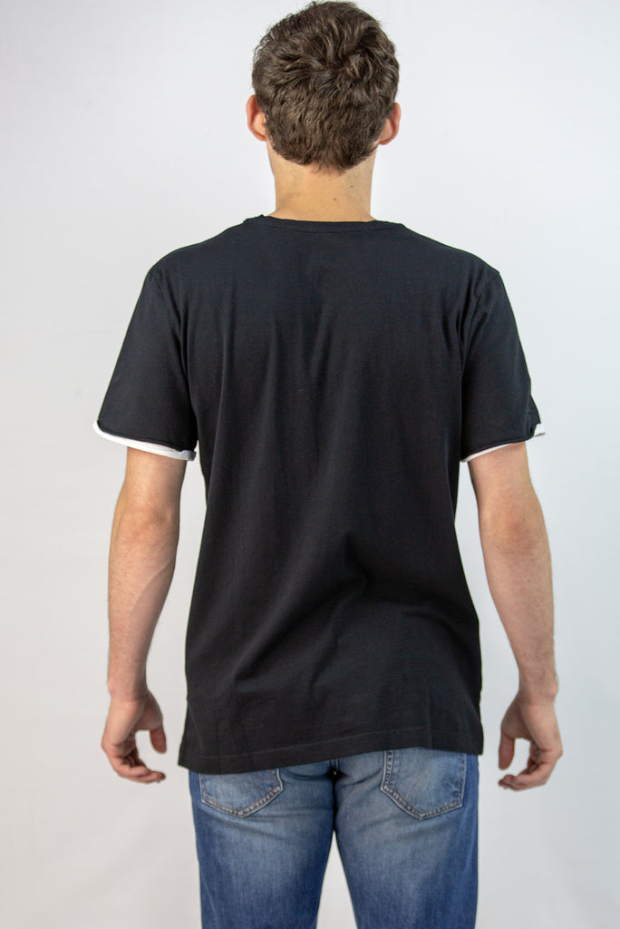 Men's Black Double Face Basic Tee