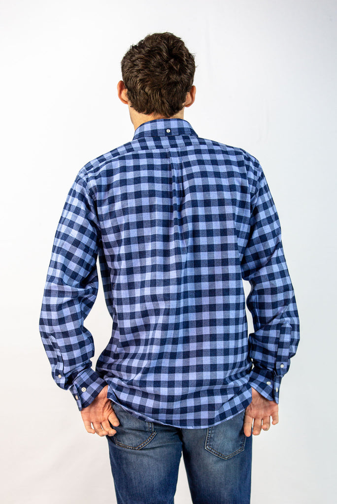 Men's Blue Baker Plaid Button-Down