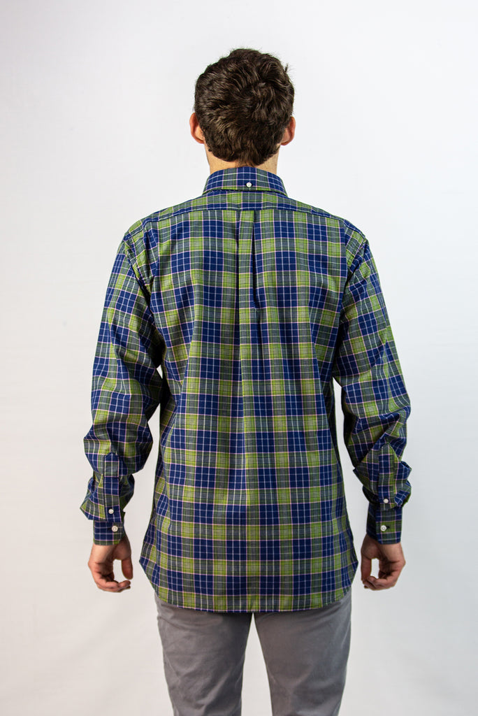 Men's Nicobar Green Plaid Button-Down