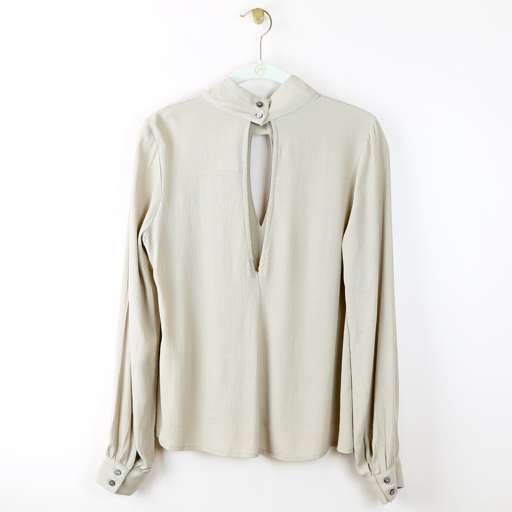 Mock Neck Open Back Top in Taupe