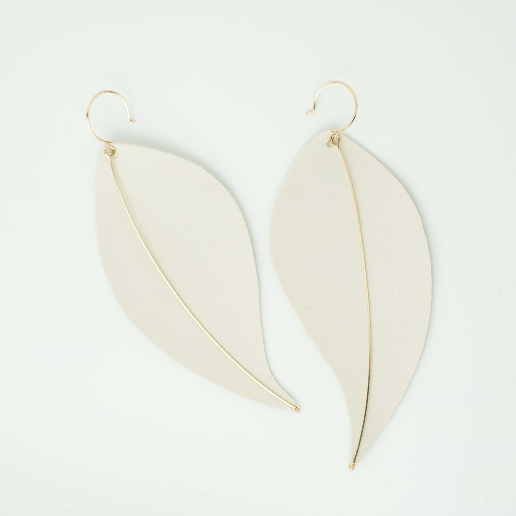 Element Brienne Large Leather Leaf Earrings