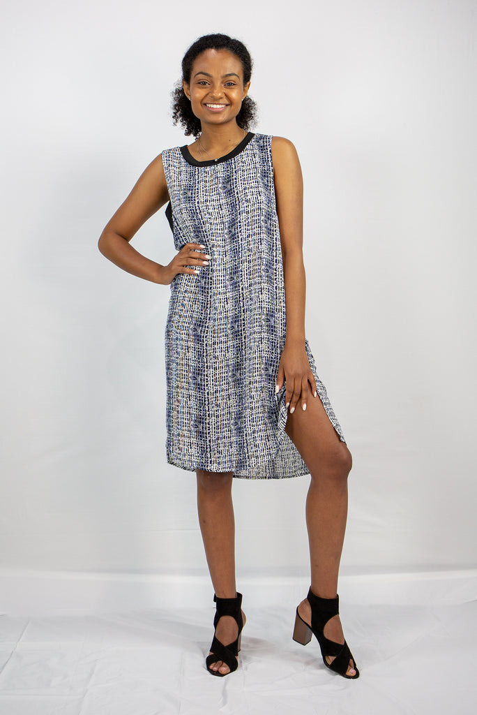Navy & White Side Cut-Out Shift Dress