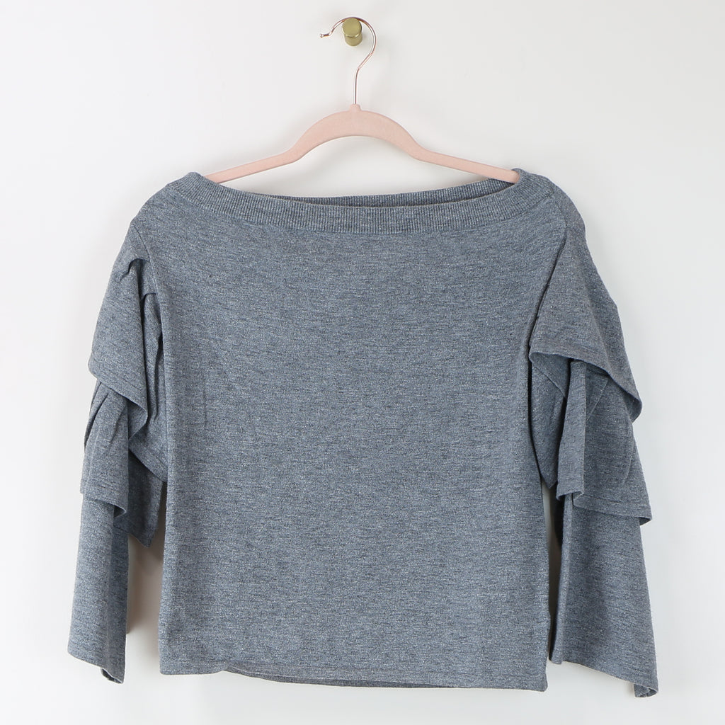 Off the Shoulder Ruffle Top in Gray - DI