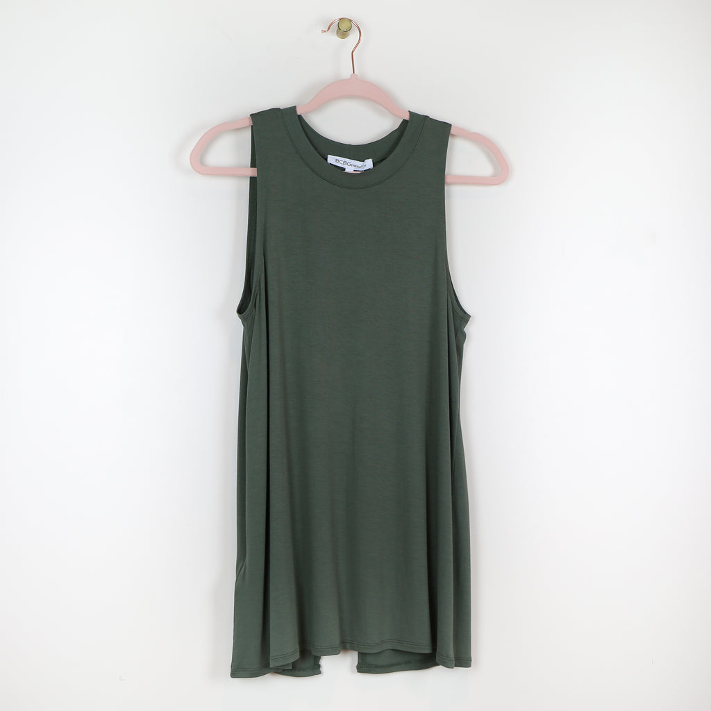 Open Back Tank in Olive - DI